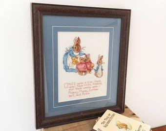 Vintage Beatrix Potter Cross Stitch Needlepoint Bunnies - framed embroidery baby nursery - flopsy mopsy cotton tail peter rabbit #0644