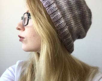 Purple Ombre Knit Slouchy Beanie