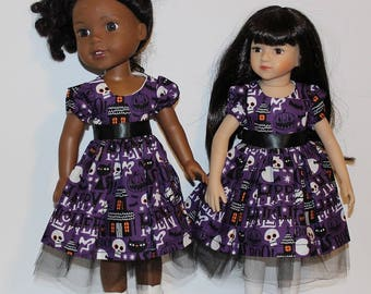 Mini Maru and Wellie Wisher dolls not included. Handmade Halloween Dress (Sock & Shoes not included) Ghosts