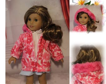 American Girl doll not included. Coat only, other clothes not included. Pink Fleece Winter Coat with Hood, Snap & Pink Zipper for 18'' Dolls