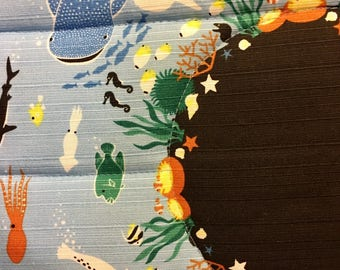 Spoil your furry friend!  Cozy cat mat, quilted bed for your kitty - sea creatures - all proceeds to local humane society.