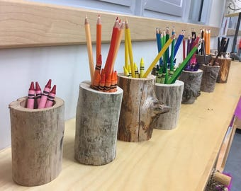 Back to school Sale! Wooden pencil holder