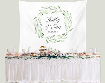 Greenery Wedding Backdrop Reception, Rustic Wedding Backdrop Fabric, Olive Wedding Banner, Wedding Backdrop Tapestry, Reception Backdrop