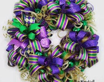 Mardi Gras Deco Mesh Wreath for Front Door, Mardi Gras Wreath, Fat Tuesday Wreath, Mardi Gras Door Hanger, Mardi Gras Decorations, Wreathes