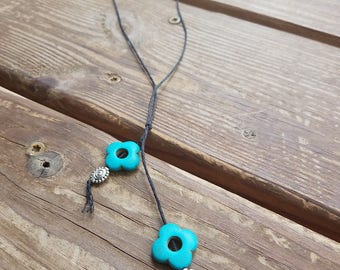 Turquoise, Silver Lariat Necklace|Fully Adjustable to Pair with any Shirt|Unique, Simple Design|Gifts for Her