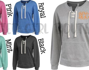 Lace Up Crew Pullover | Monogram Pullover| Monogram Sweatshirt | Lace Up Sweatshirt | Winter Pullover | Personalized Sweatshirt