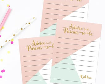 Advice for Parents to be Advice Cards Baby Shower Advice Cards for Mommy to be Baby Shower Games Words of Wisdom Download Card Printable PDF