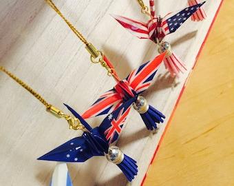 Flag peace crane origami charm