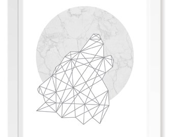 White and Grey Marble Wolf Howling at the Moon Geometric Print / Minimalistic Scandinavian Poster Art / Animal Cutout Silhouette