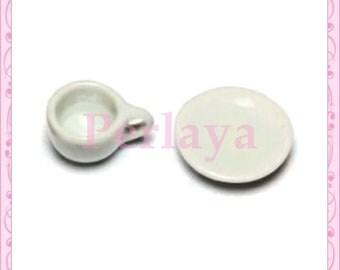 5 cups 5 REF1073 porcelain plates
