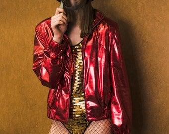 Glossy red bomber jacket
