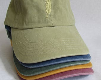Embroidered Khaki-Green Feather Hat