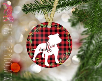 Custom Pitbull Ornament | Christmas Name Ornament  | Holiday Gift | Pet Ornament | Dog | Pit bull | Pittie