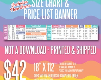 LLR Price List & Size Chart Banner - Includes New Items
