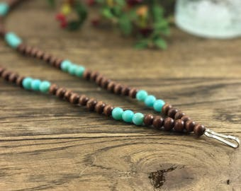 Beaded Lanyard for Teachers, Teacher Lanyard, Beaded Lanyard for Badges, Turquoise Beaded Lanyards, Badge Holder Lanyard, Teacher Gifts