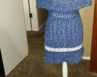 Denim Crochet Skirt Garment