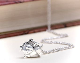 Chubby Origami Lion Necklace | Sterling Silver Lion Charm Necklace | Origami cute Lion Pendant Animal Jewelry