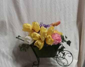 Bouquet of spring flowers centerpiece, for your mantel,  table or patio spring decor, wheel barrow full of artificial spring flowers