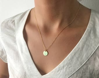 Small Disc Necklace, Dot Necklace, Dainty Necklace, Minimal Jewelry, Layering Necklace, NL0046