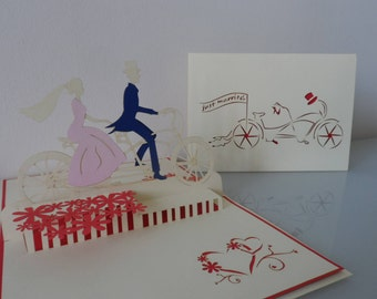 Just Married Bride and Groom on a Tandem Bicycle - Pop up Card-wedding (sku166)