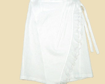 UNIKA Design Unique Women White Linen Midi Open Side Lace Tatting Split Skirt