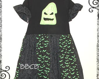 Girls - Size 7 8 - Oogie Boogie Nightmare Tunic Shirt Dress - Ready to Ship - Halloween Fall Autumn - Back to School - Bats