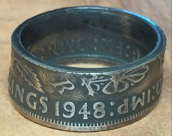1948 Two Shillings Coin Ring