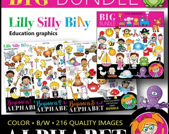Alphabet BIG BUNDLE- 216 Images: Black and white/ color graphics A - Z. Education graphics for school and commercial use. Instant Download.