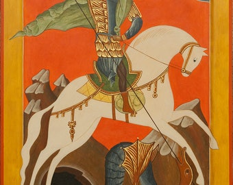 Russian orthodox icon St George tempera gold hand made 30x40 cm