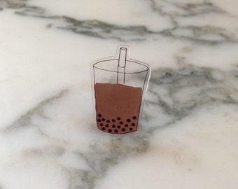 Bubble Tea Shrinky Dink Pin