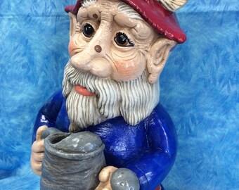 Gnome, Gnome statue, garden art, Norwegian Gnome, Gnome watering can, yard art, good Luck