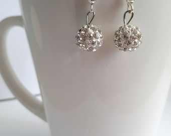Bright Silver Pave Crystal Drop Earrings