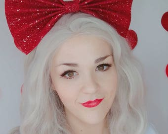 Red Glitter Bow - Valentines -