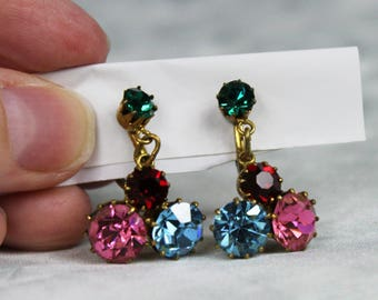 Vintage 1960s Austrian Rhinestone Earrings Dangle Drop Screw Clip Ons Red Green Blue Pink