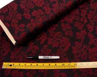 5 Yards, Fabric,  Burgandy and Black Floral, Poly Stretch, Gothic, Romantic