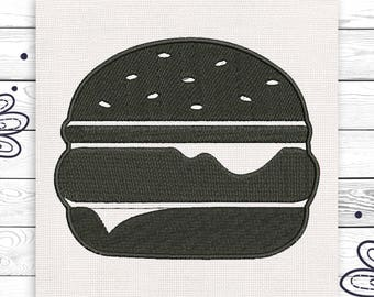 Hamburger embroidery design American food Black embroidery Discount 10% Machine embroidery design 4 sizes INSTANT DOWNLOAD EE5040