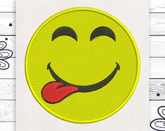 Tongue face embroidery Emoji Discount 10% Digital machine embroidery design 4 sizes INSTANT DOWNLOAD EE5063