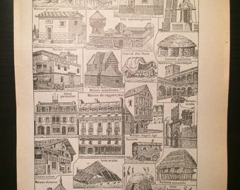Habitation - Houses - Antique French Dictionary Page - Original 1940s Illustrated Lithograph