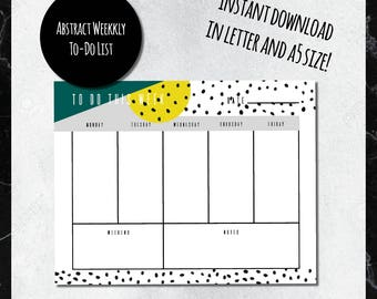 MUSTARD & GREEN PRINTABLE Abstract Weekly To-Do List
