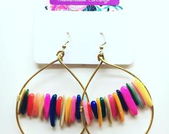 Rainbow chip bead earrings