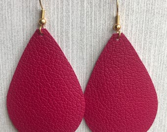 Hot Pink - Leather Teardrop Earrings