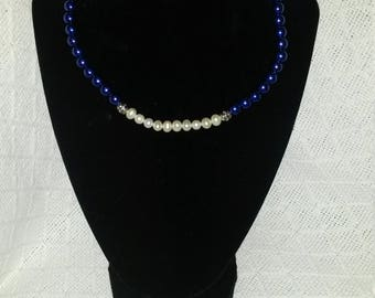 Blue and White Cultured Pearl Necklace