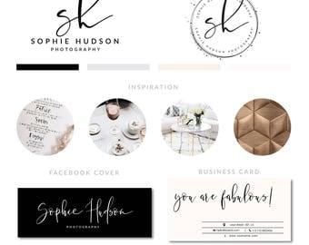 Black Modern Logo, Makeup Salon Logo, Rose Gold Brush Logo,  Event Planner Logo, Minimal Branding Package, Minimal logo design, branding kit