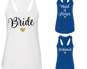 Bridal Party Tank Tops, Bride Tank Top, Bridesmaid Tank Top, Maid of Honor Tank Top, Bachelorette Party, L