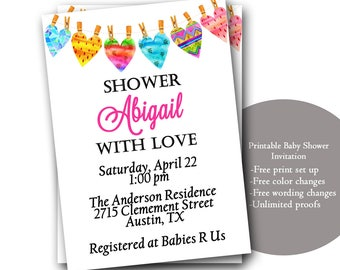 Custom Personalized Baby Shower Invitations, Heart, Clothesline baby shower invitations, Baby Shower invites, gender neutral, blue pink