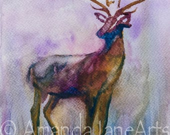 Single Stag, deer, stag head, watercolour,painting, picture, abstract ,animal, picture,print, art, gift