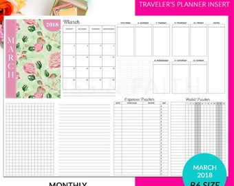 B6 Travelers Notebook Planner Insert March 2018 Vertical Week On Two Pages Expenses Habit Tracker Printable
