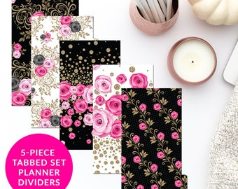 Elegant Roses 5-Piece Tabbed Set of Planner Dividers for Personal A5 Planner Dashboard