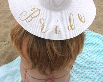 BRIDE FLOPPY SUN Hat. Large Brim, Packable, and Durable. Bride Gift