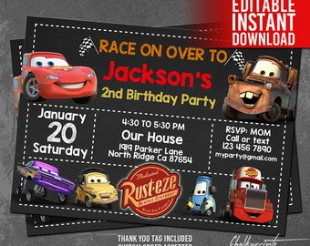 Disney Cars Invitation Instant Download, Disney Cars Birthday Invitation, Cars Thank You Tags, Disney Cars Invites, Editable PDF Template